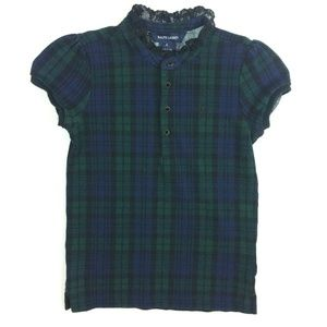 Ralph Lauren 6 Plaid Lace Neck Polo Shirt